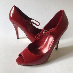 ALDO Red Leather Peep Toe Heels